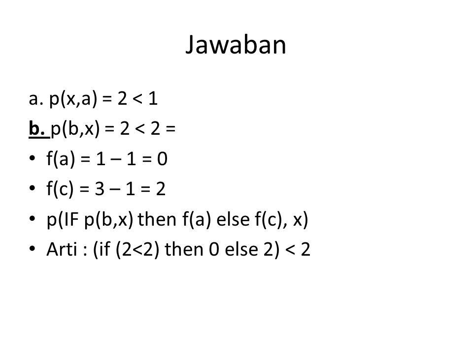 Jawaban a.p(x,a) = 2 < 1 b.