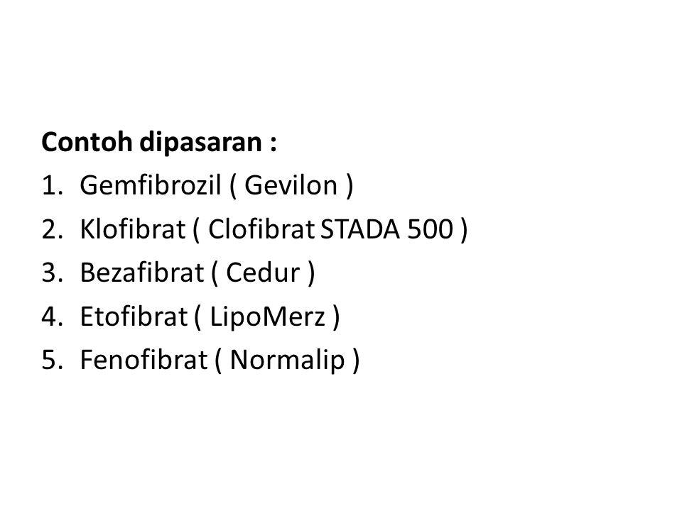 Contoh dipasaran : 1.Gemfibrozil ( Gevilon ) 2.Klofibrat ( Clofibrat STADA 500 ) 3.Bezafibrat ( Cedur ) 4.Etofibrat ( LipoMerz ) 5.Fenofibrat ( Normal