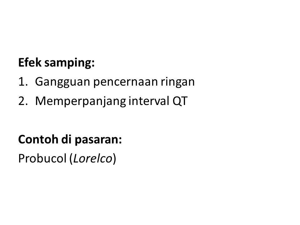 Efek samping: 1.Gangguan pencernaan ringan 2.Memperpanjang interval QT Contoh di pasaran: Probucol (Lorelco)