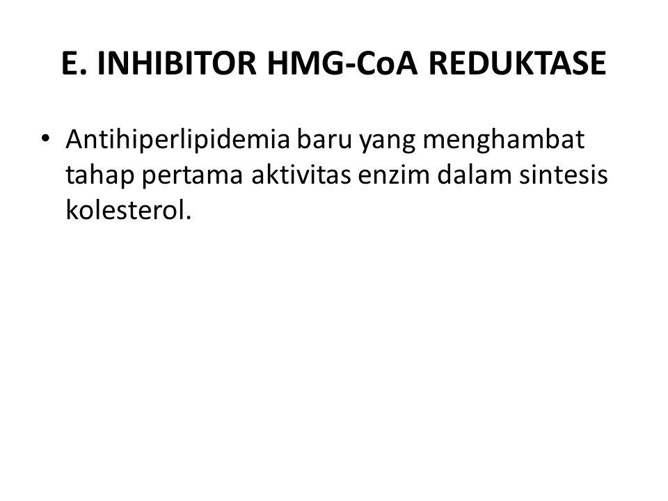 E. INHIBITOR HMG-CoA REDUKTASE Antihiperlipidemia baru yang menghambat tahap pertama aktivitas enzim dalam sintesis kolesterol.