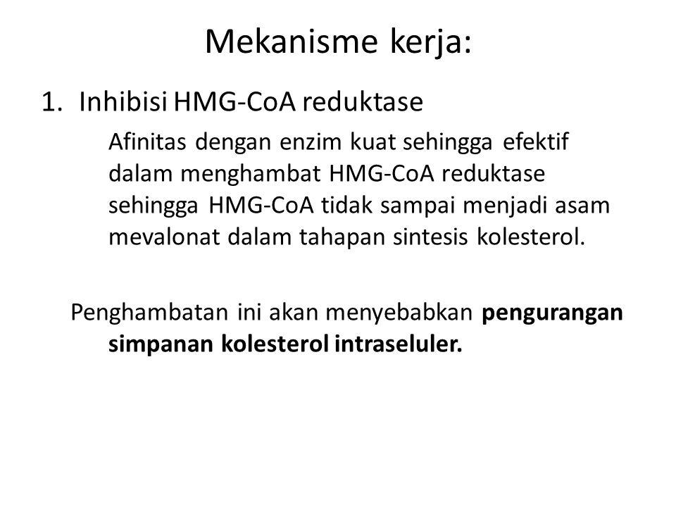 Mekanisme kerja: 1.Inhibisi HMG-CoA reduktase Afinitas dengan enzim kuat sehingga efektif dalam menghambat HMG-CoA reduktase sehingga HMG-CoA tidak sa