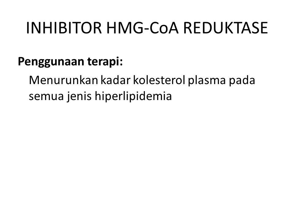 INHIBITOR HMG-CoA REDUKTASE Penggunaan terapi: Menurunkan kadar kolesterol plasma pada semua jenis hiperlipidemia