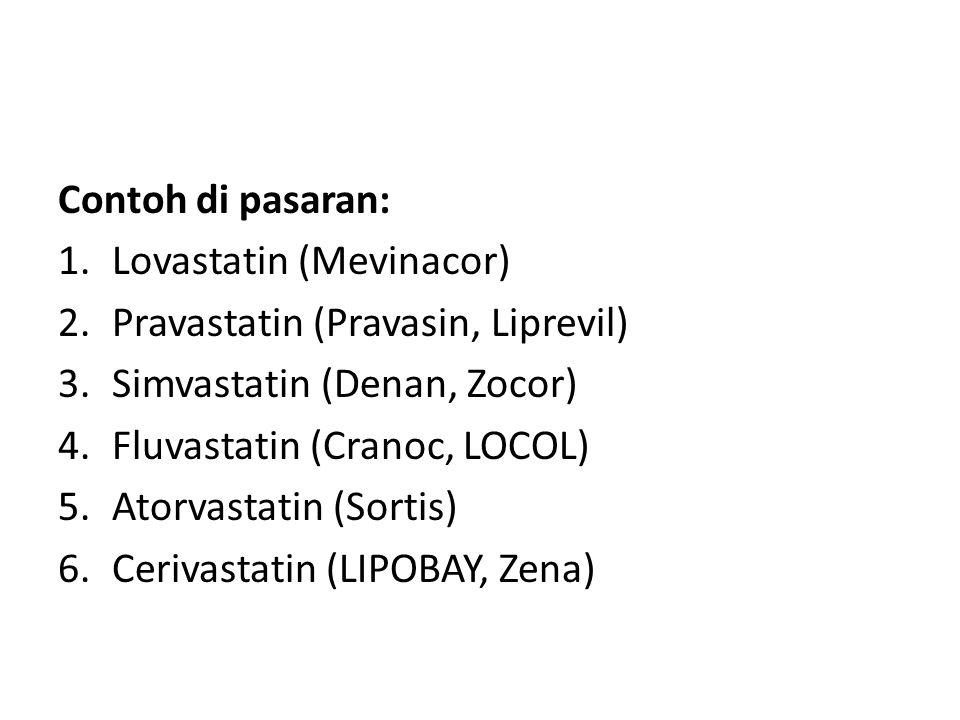 Contoh di pasaran: 1.Lovastatin (Mevinacor) 2.Pravastatin (Pravasin, Liprevil) 3.Simvastatin (Denan, Zocor) 4.Fluvastatin (Cranoc, LOCOL) 5.Atorvastat