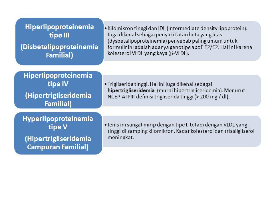 Trigliserida tinggi. Hal ini juga dikenal sebagai hipertrigliseridemia (murni hipertrigliseridemia). Menurut NCEP-ATPIII definisi trigliserida tinggi