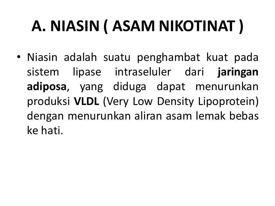 A. NIASIN ( ASAM NIKOTINAT ) Niasin adalah suatu penghambat kuat pada sistem lipase intraseluler dari jaringan adiposa, yang diduga dapat menurunkan p