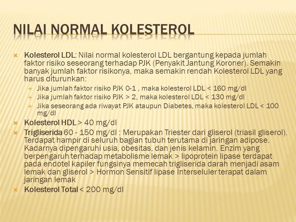  Kolesterol LDL: Nilai normal kolesterol LDL bergantung kepada jumlah faktor risiko seseorang terhadap PJK (Penyakit Jantung Koroner). Semakin banyak