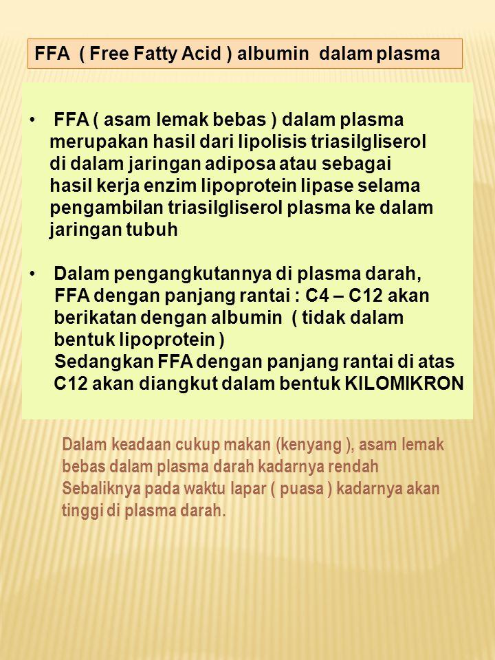 FFA ( Free Fatty Acid ) albumin dalam plasma FFA ( asam lemak bebas ) dalam plasma merupakan hasil dari lipolisis triasilgliserol di dalam jaringan ad