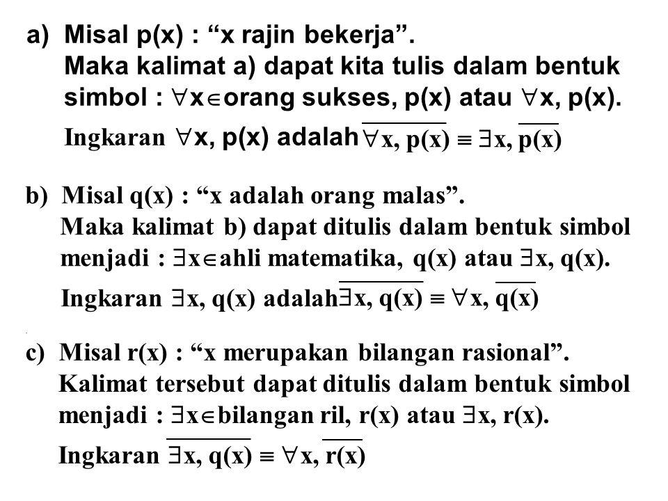 """a)Misal p(x) : """"x rajin bekerja"""". Maka kalimat a) dapat kita tulis dalam bentuk simbol :  x  orang sukses, p(x) atau  x, p(x). Ingkaran  x, p(x) a"""