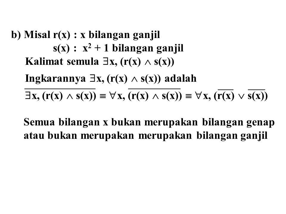 b) Misal r(x) : x bilangan ganjil s(x) : x 2 + 1 bilangan ganjil Kalimat semula  x, (r(x)  s(x)) Ingkarannya  x, (r(x)  s(x)) adalah  x, (r(x) 