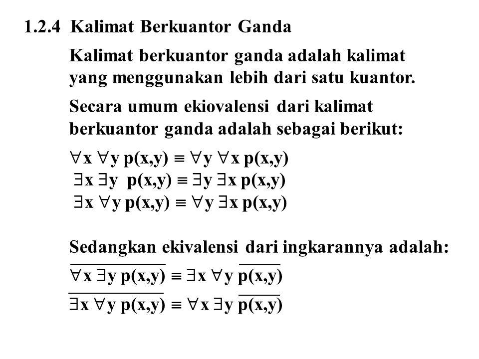 1.2.4 Kalimat Berkuantor Ganda Kalimat berkuantor ganda adalah kalimat yang menggunakan lebih dari satu kuantor. Secara umum ekiovalensi dari kalimat