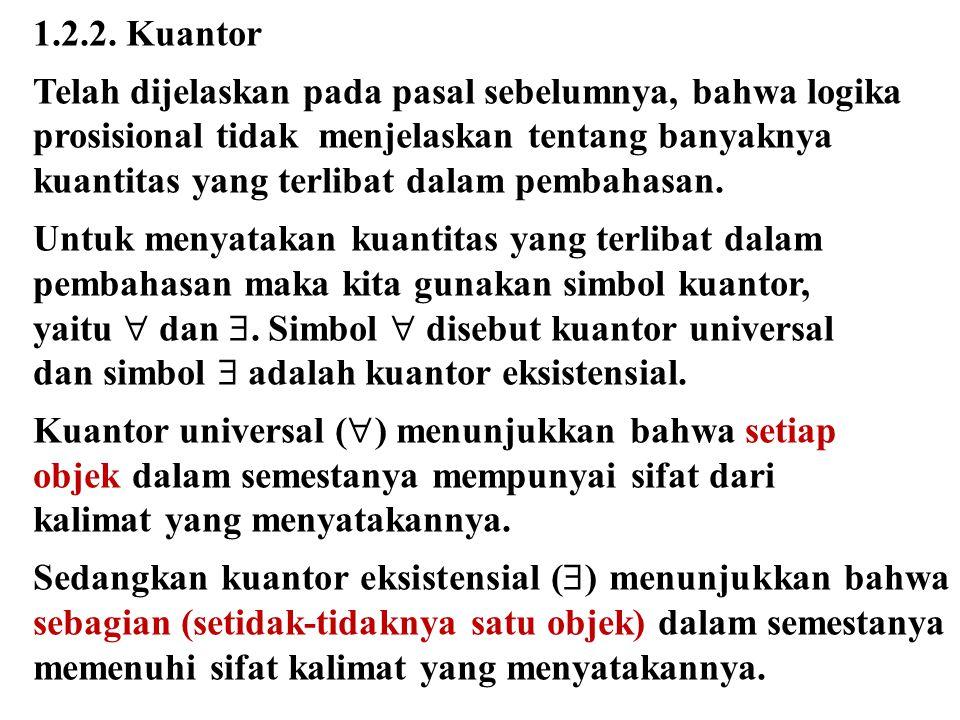 1.2.2. Kuantor Telah dijelaskan pada pasal sebelumnya, bahwa logika prosisional tidak menjelaskan tentang banyaknya kuantitas yang terlibat dalam pemb