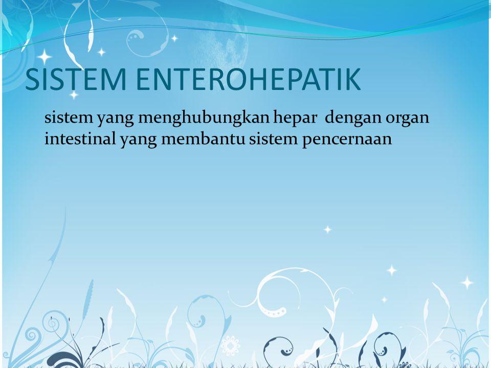 SISTEM ENTEROHEPATIK sistem yang menghubungkan hepar dengan organ intestinal yang membantu sistem pencernaan