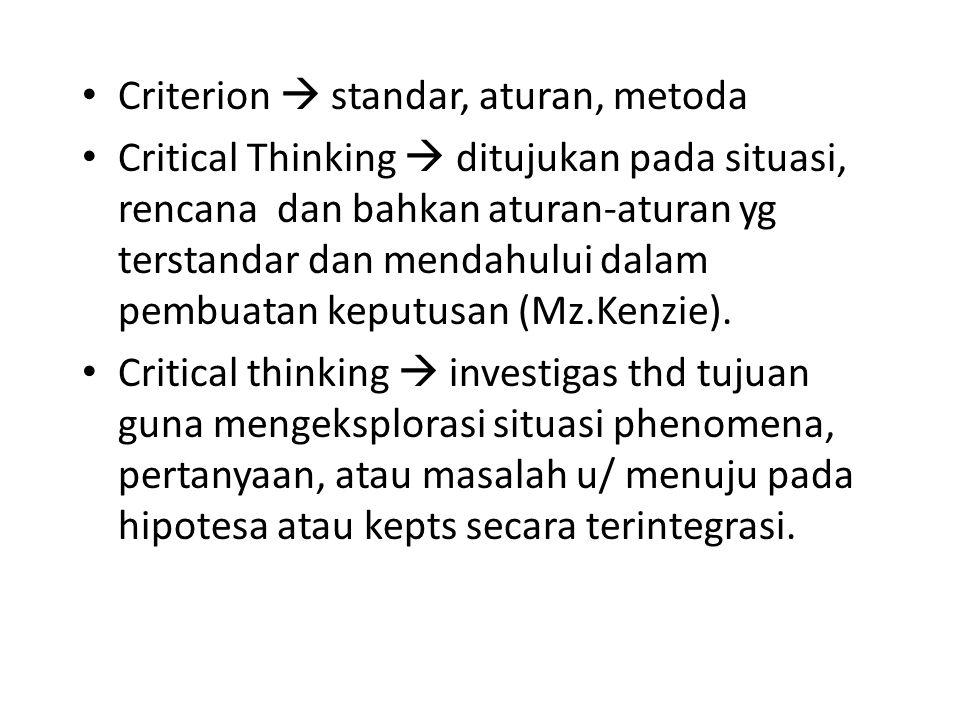 Berfikir : Proses tidak statis. Dapat berubah-ubah setiap saat. Bersifat dinamis Pengertian ; Critical  bertanya, diskusi, memilih, menilai, membuat