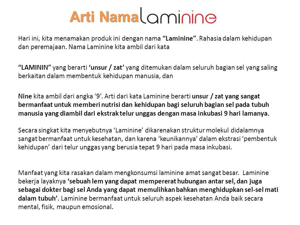 """Arti Nama Arti Nama Hari ini, kita menamakan produk ini dengan nama """"Laminine"""". Rahasia dalam kehidupan dan peremajaan. Nama Laminine kita ambil dari"""