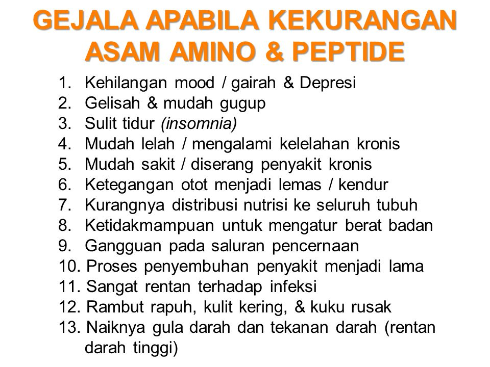GEJALA APABILA KEKURANGAN ASAM AMINO & PEPTIDE 1. Kehilangan mood / gairah & Depresi 2. Gelisah & mudah gugup 3. Sulit tidur (insomnia) 4. Mudah lelah