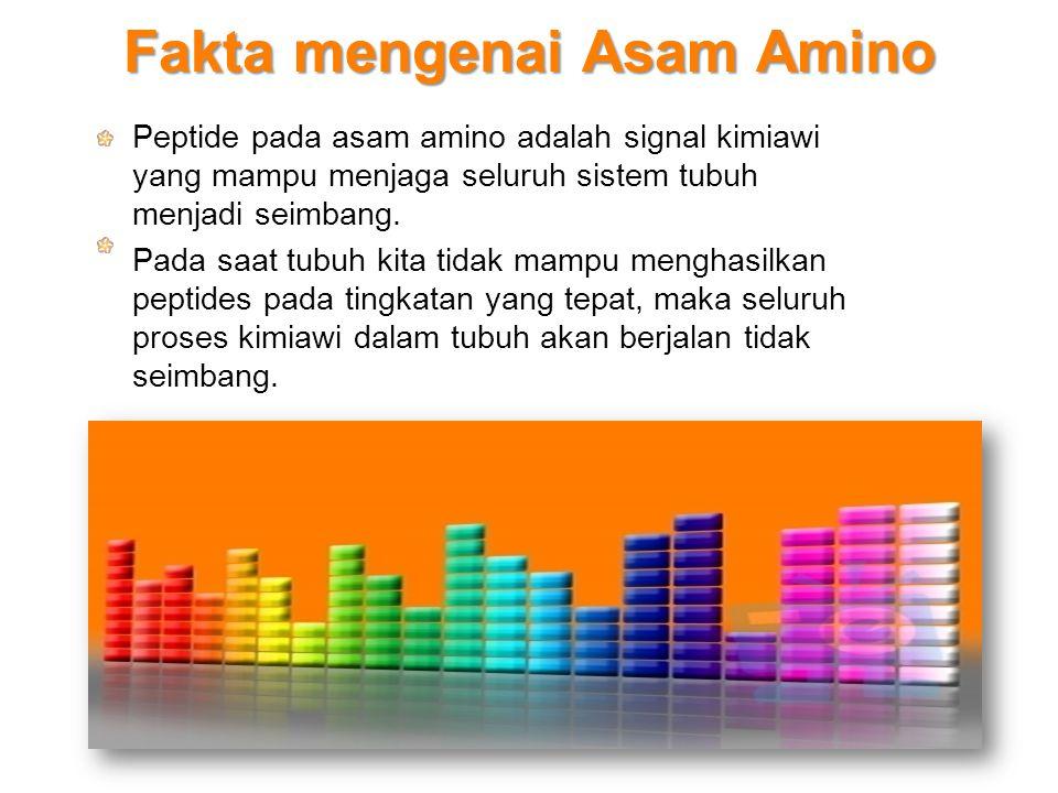 Fakta mengenai Asam Amino Peptide pada asam amino adalah signal kimiawi yang mampu menjaga seluruh sistem tubuh menjadi seimbang. Pada saat tubuh kita