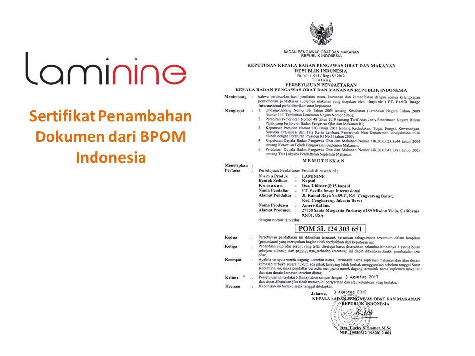 Sertifikat Penambahan Dokumen dari BPOM Indonesia