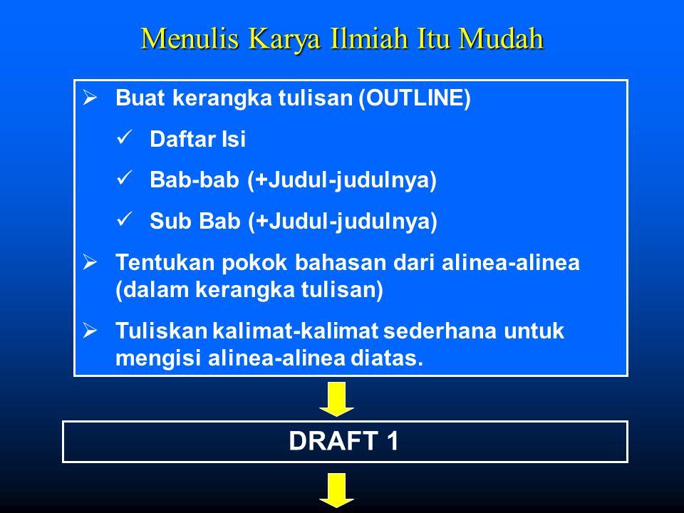 Menulis Karya Ilmiah Itu Mudah  Buat kerangka tulisan (OUTLINE) Daftar Isi Bab-bab (+Judul-judulnya) Sub Bab (+Judul-judulnya)  Tentukan pokok bahas