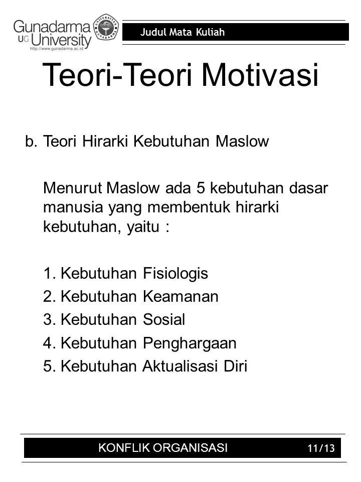 Judul Mata Kuliah 11/13 Teori-Teori Motivasi b.Teori Hirarki Kebutuhan Maslow Menurut Maslow ada 5 kebutuhan dasar manusia yang membentuk hirarki kebu