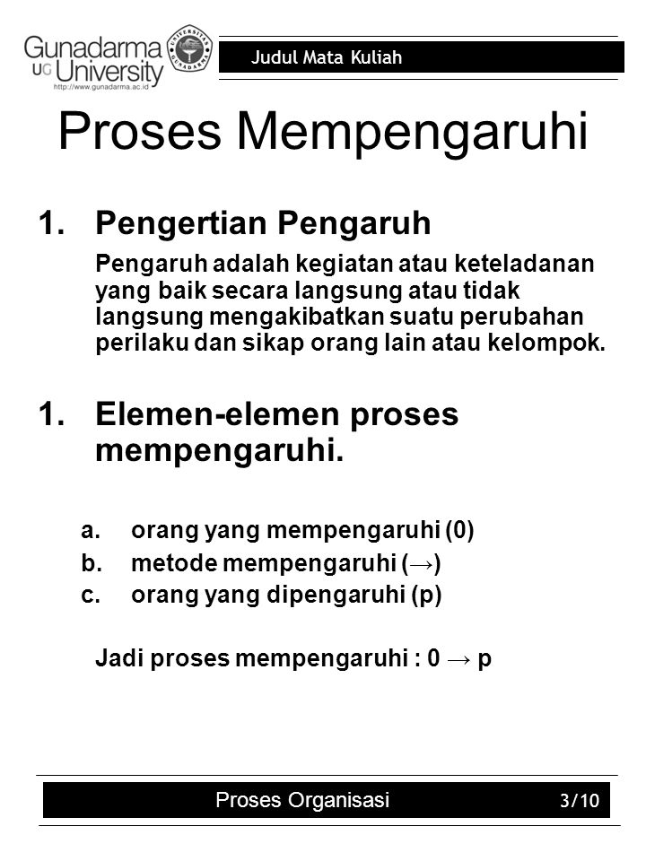 Judul Mata Kuliah Proses Organisasi 3/10 Proses Mempengaruhi 1.Pengertian Pengaruh Pengaruh adalah kegiatan atau keteladanan yang baik secara langsung