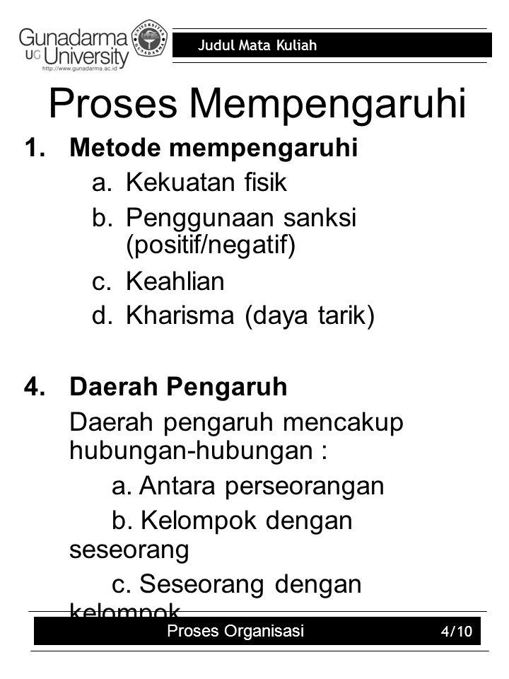 Judul Mata Kuliah Proses Organisasi 4/10 Proses Mempengaruhi 1.Metode mempengaruhi a.Kekuatan fisik b.Penggunaan sanksi (positif/negatif) c.Keahlian