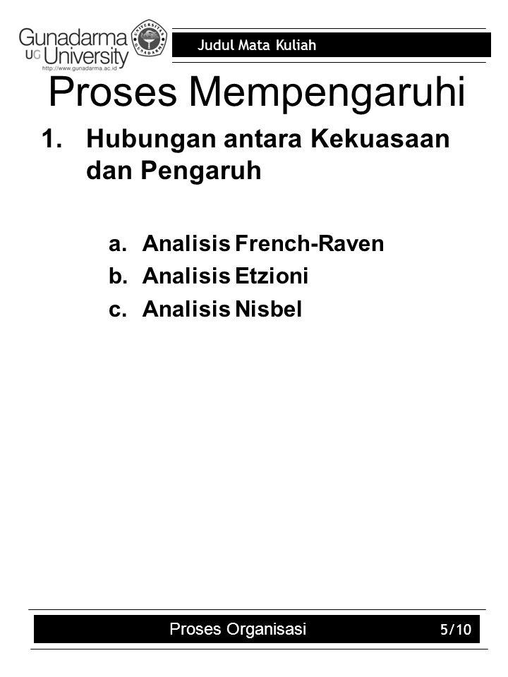 Judul Mata Kuliah Proses Organisasi 5/10 Proses Mempengaruhi 1.Hubungan antara Kekuasaan dan Pengaruh a.Analisis French-Raven b.Analisis Etzioni c.Ana