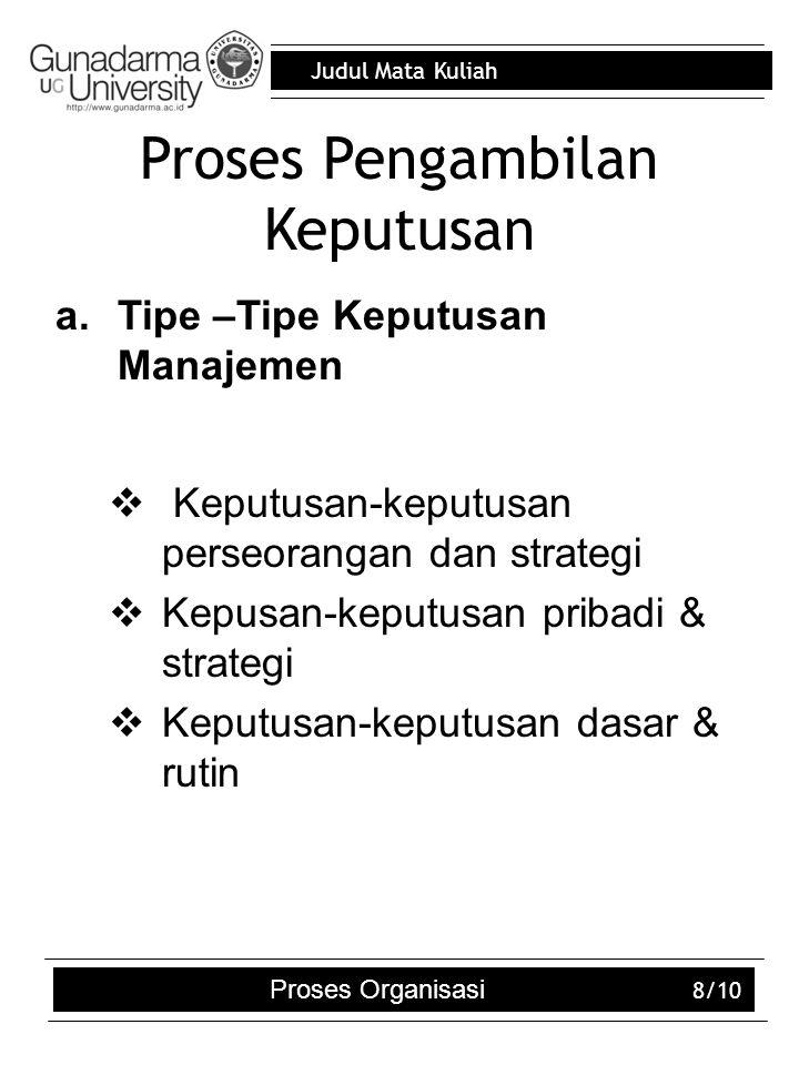 Judul Mata Kuliah Proses Organisasi 8/10 Proses Pengambilan Keputusan a.Tipe –Tipe Keputusan Manajemen  Keputusan-keputusan perseorangan dan strategi