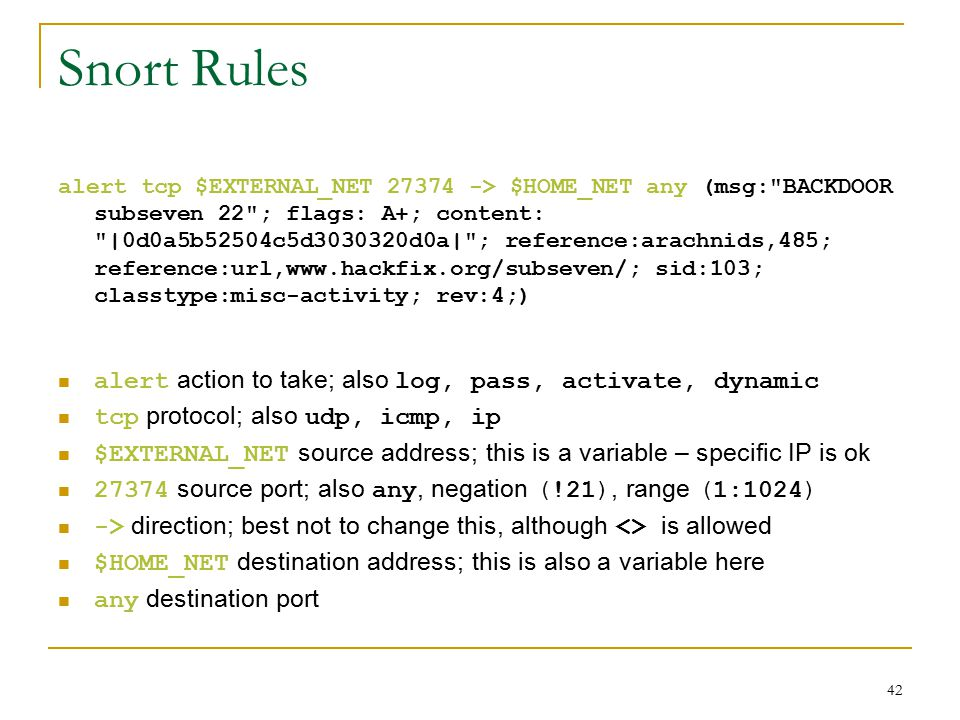 Snort Rules alert tcp $EXTERNAL_NET 27374 -> $HOME_NET any (msg: