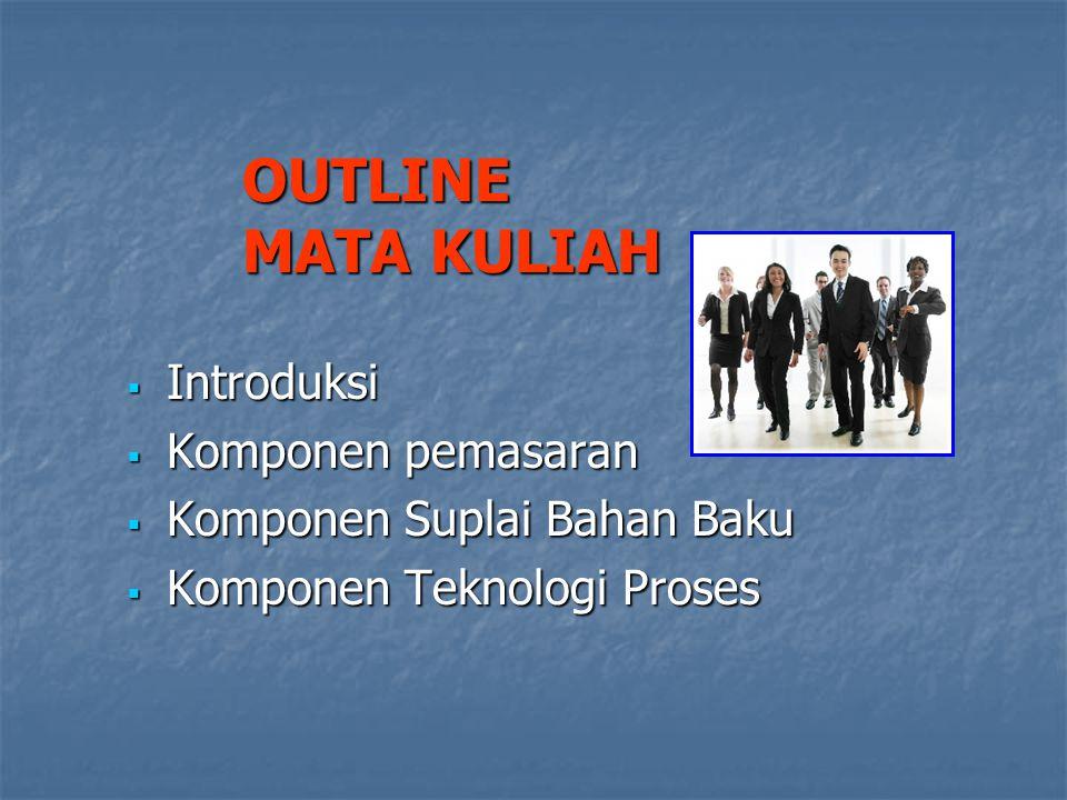OUTLINE MATA KULIAH  Introduksi  Komponen pemasaran  Komponen Suplai Bahan Baku  Komponen Teknologi Proses
