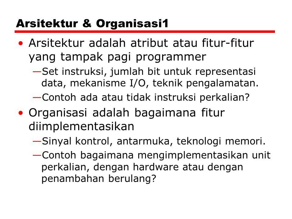 Arsitektur & Organisasi1 Arsitektur adalah atribut atau fitur-fitur yang tampak pagi programmer —Set instruksi, jumlah bit untuk representasi data, me