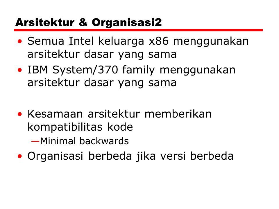 Arsitektur & Organisasi2 Semua Intel keluarga x86 menggunakan arsitektur dasar yang sama IBM System/370 family menggunakan arsitektur dasar yang sama