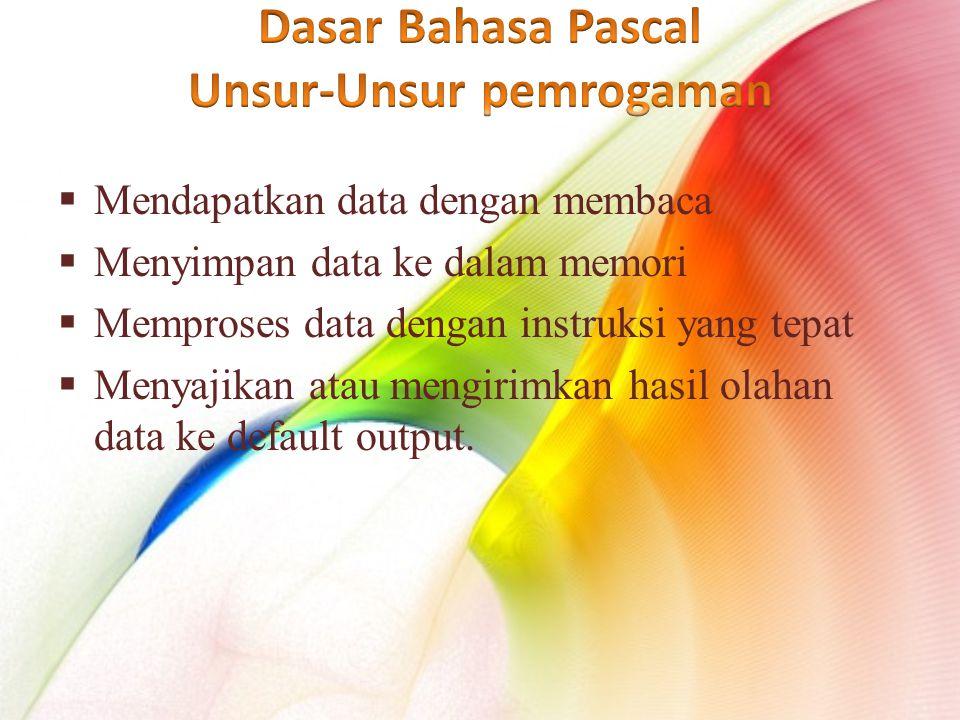  Mendapatkan data dengan membaca  Menyimpan data ke dalam memori  Memproses data dengan instruksi yang tepat  Menyajikan atau mengirimkan hasil olahan data ke default output.