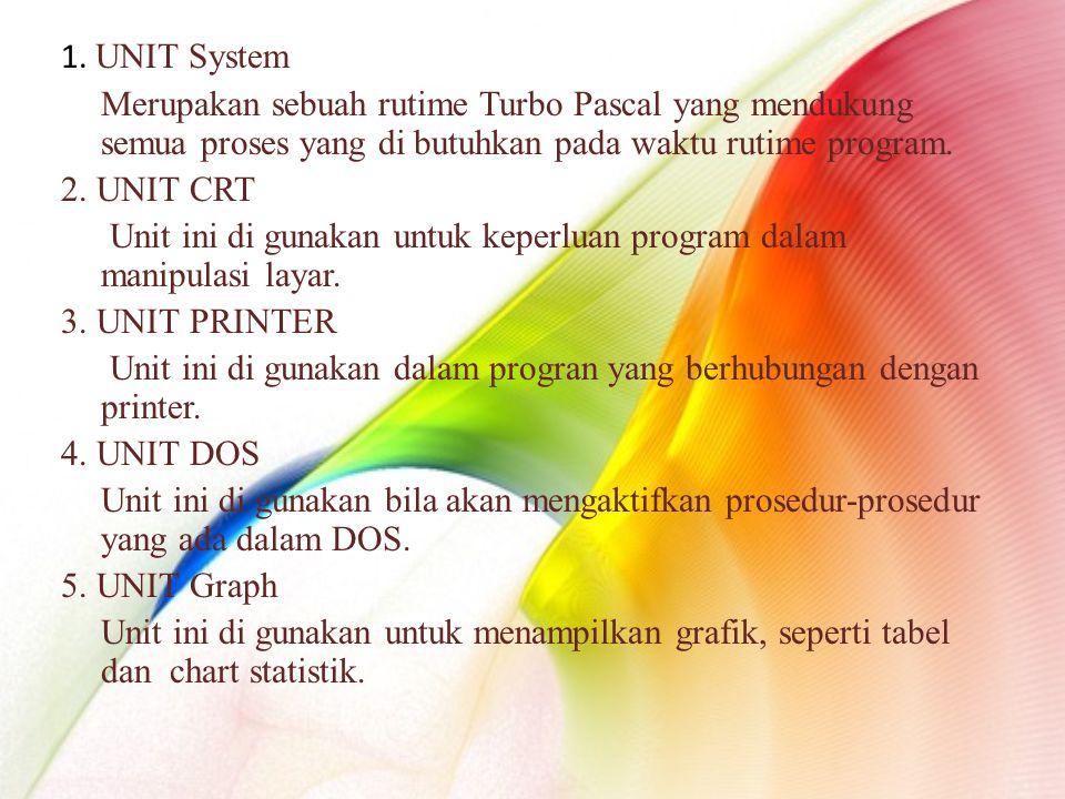 1. UNIT System Merupakan sebuah rutime Turbo Pascal yang mendukung semua proses yang di butuhkan pada waktu rutime program. 2. UNIT CRT Unit ini di gu
