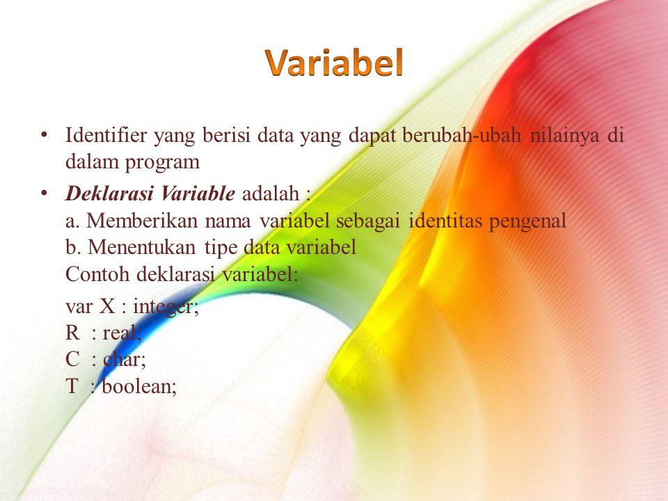 Identifier yang berisi data yang dapat berubah-ubah nilainya di dalam program Deklarasi Variable adalah : a.