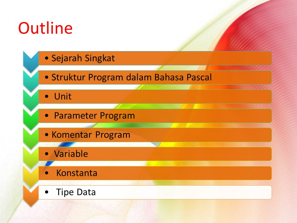 Sejarah SingkatStruktur Program dalam Bahasa Pascal Unit Parameter ProgramKomentar Program Variable Konstanta Tipe Data