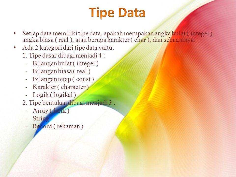 Setiap data memiliki tipe data, apakah merupakan angka bulat ( integer ), angka biasa ( real ), atau berupa karakter ( char ), dan sebagainya.