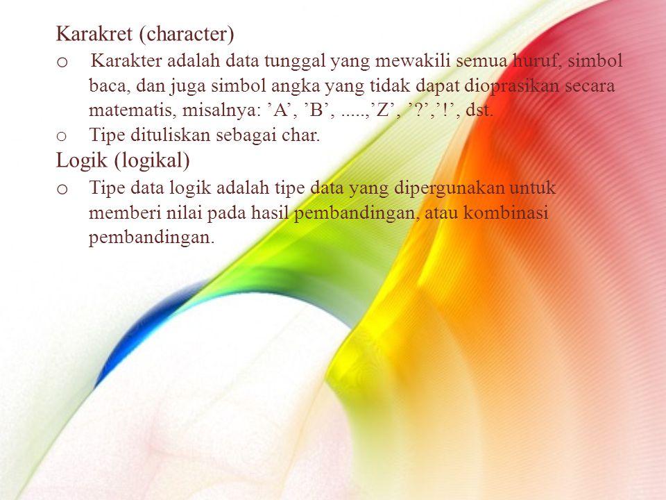 Karakret (character) o Karakter adalah data tunggal yang mewakili semua huruf, simbol baca, dan juga simbol angka yang tidak dapat dioprasikan secara matematis, misalnya: 'A', 'B',.....,'Z', ' ','!', dst.