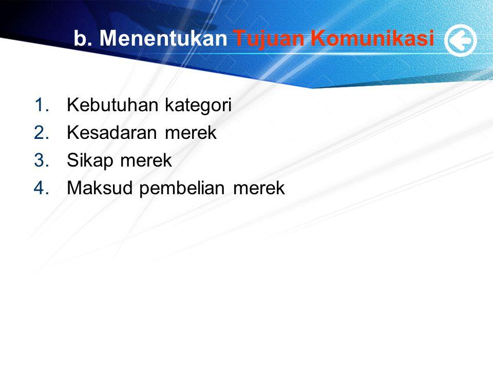 b. Menentukan Tujuan Komunikasi 1.Kebutuhan kategori 2.Kesadaran merek 3.Sikap merek 4.Maksud pembelian merek