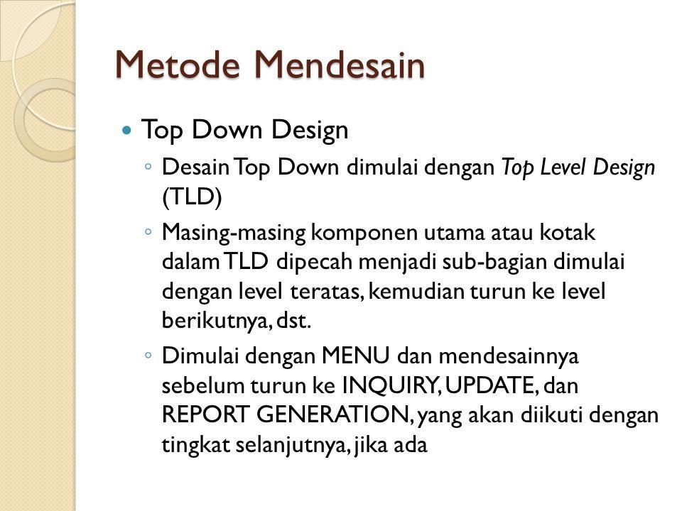 Metode Mendesain Top Down Design ◦ Desain Top Down dimulai dengan Top Level Design (TLD) ◦ Masing-masing komponen utama atau kotak dalam TLD dipecah menjadi sub-bagian dimulai dengan level teratas, kemudian turun ke level berikutnya, dst.