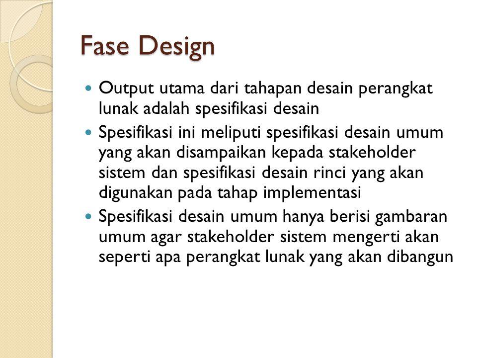 Fase Design Output utama dari tahapan desain perangkat lunak adalah spesifikasi desain Spesifikasi ini meliputi spesifikasi desain umum yang akan disampaikan kepada stakeholder sistem dan spesifikasi desain rinci yang akan digunakan pada tahap implementasi Spesifikasi desain umum hanya berisi gambaran umum agar stakeholder sistem mengerti akan seperti apa perangkat lunak yang akan dibangun