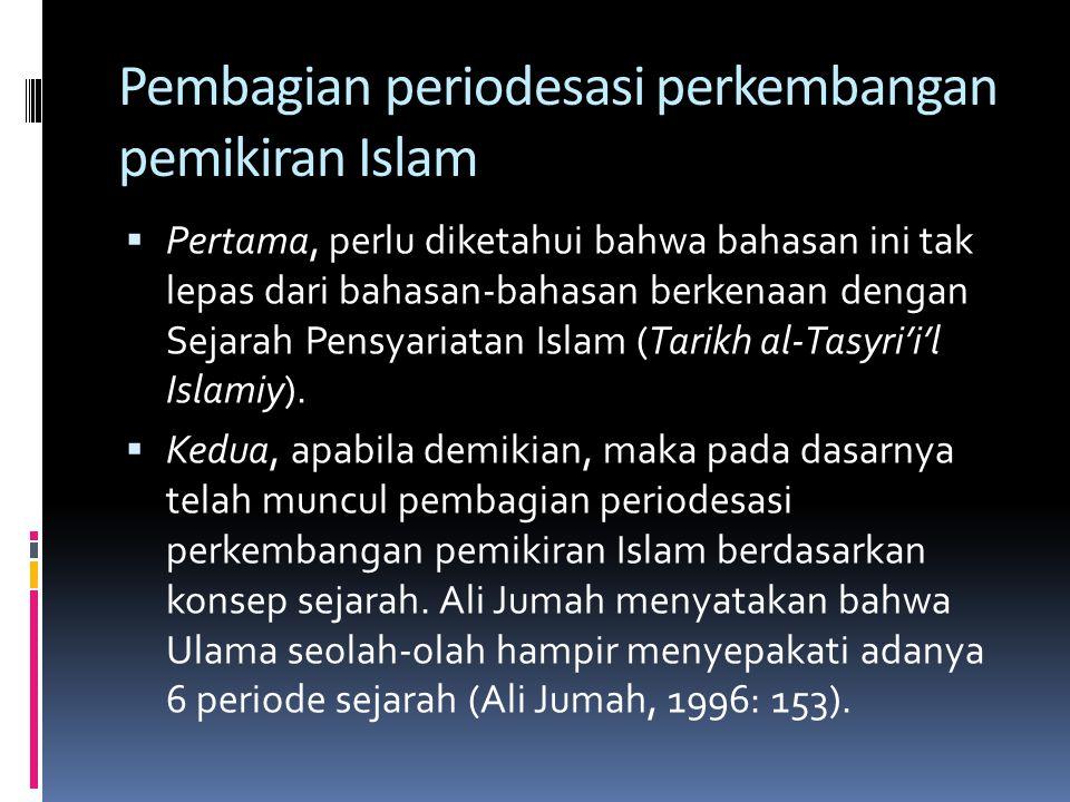 Enam Periode Sejarah Pensyariatan Islam  Dalam karyanya al-Madkhal, Ali Jum'ah menyebutkan enam periode tersebut sebagai berikut: 1.