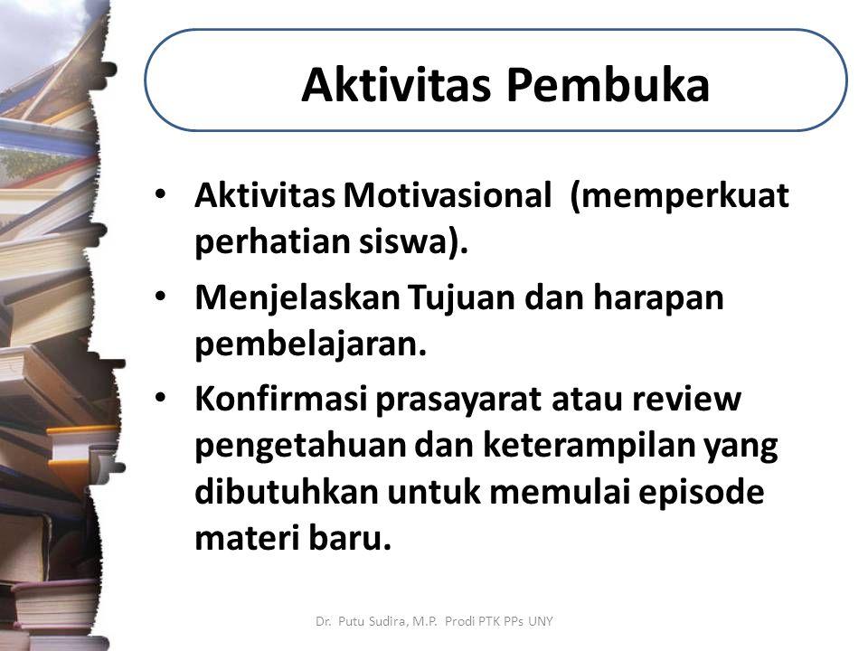 Aktivitas Pembuka Aktivitas Motivasional (memperkuat perhatian siswa).