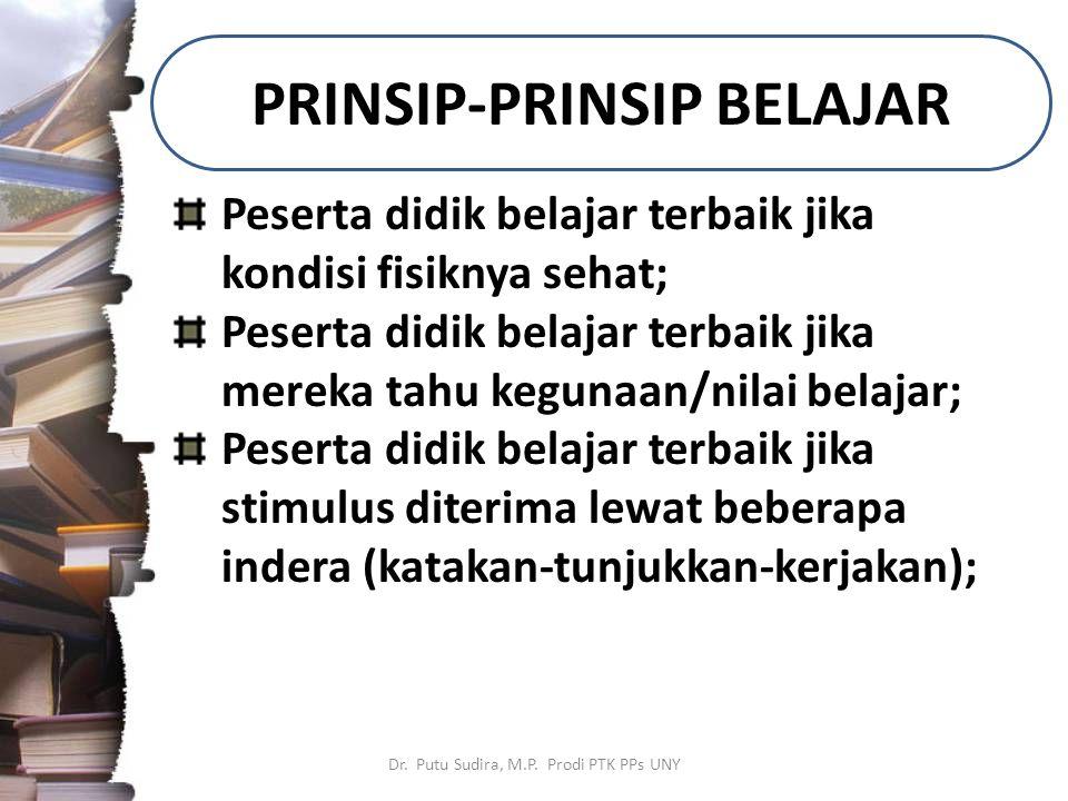 PRINSIP-PRINSIP BELAJAR Dr. Putu Sudira, M.P.