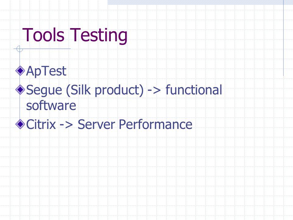 Tools Testing ApTest Segue (Silk product) -> functional software Citrix -> Server Performance