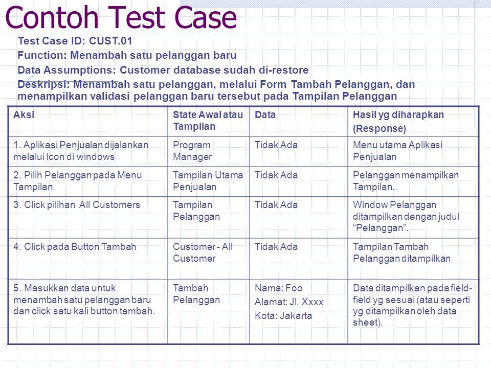 Contoh Test Case Test Case ID: CUST.01 Function: Menambah satu pelanggan baru Data Assumptions: Customer database sudah di-restore Deskripsi: Menambah