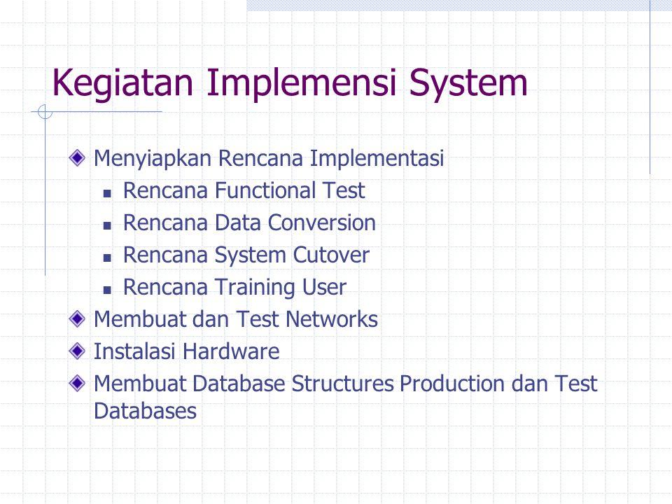 Kegiatan Implemensi System Menyiapkan Rencana Implementasi Rencana Functional Test Rencana Data Conversion Rencana System Cutover Rencana Training Use