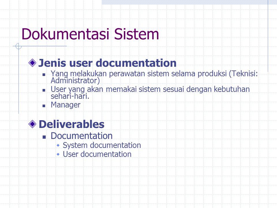 Dokumentasi Sistem Jenis user documentation Yang melakukan perawatan sistem selama produksi (Teknisi: Administrator) User yang akan memakai sistem ses