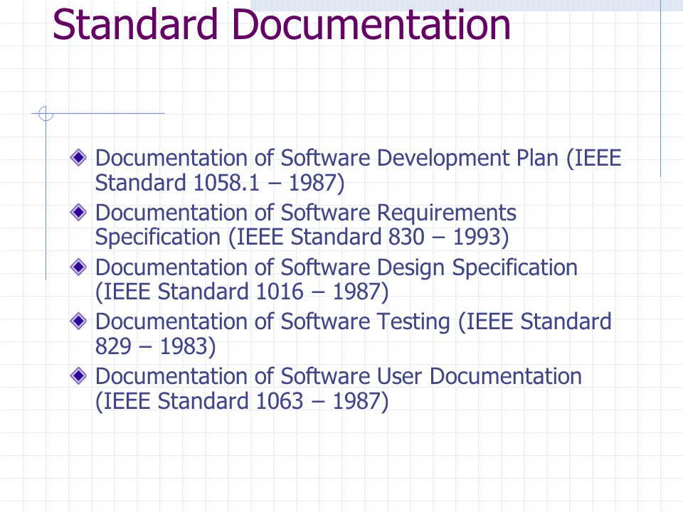 Standard Documentation Documentation of Software Development Plan (IEEE Standard 1058.1 – 1987) Documentation of Software Requirements Specification (