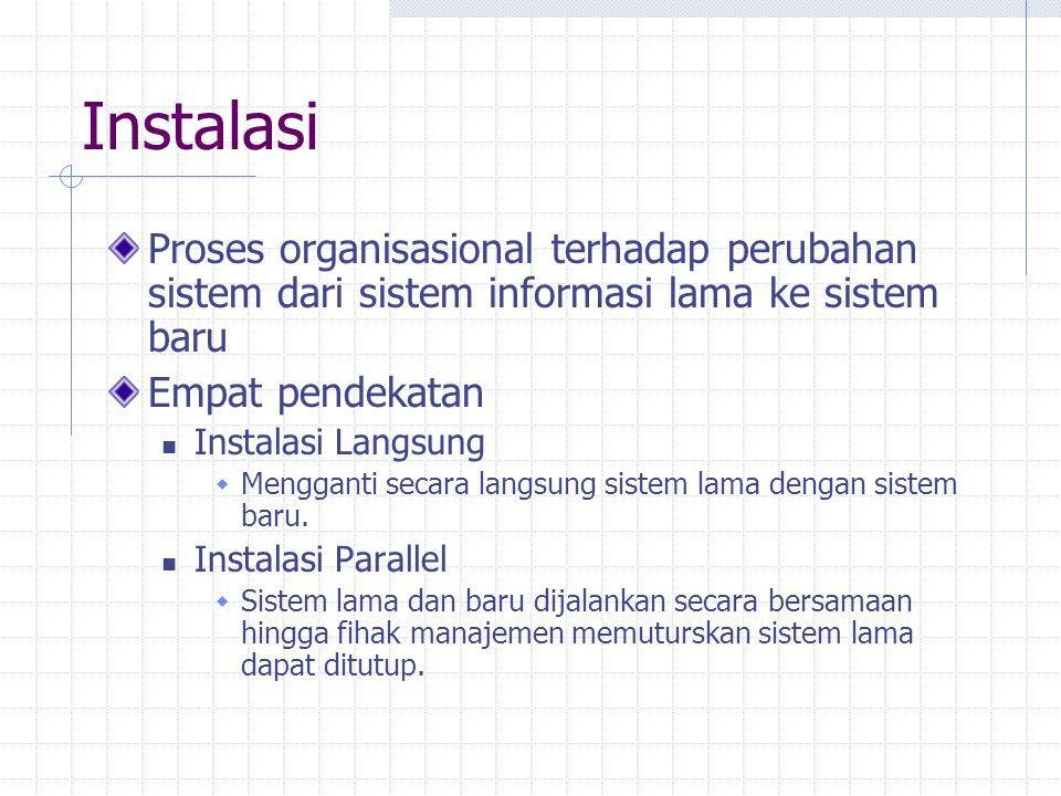 Instalasi Proses organisasional terhadap perubahan sistem dari sistem informasi lama ke sistem baru Empat pendekatan Instalasi Langsung  Mengganti se