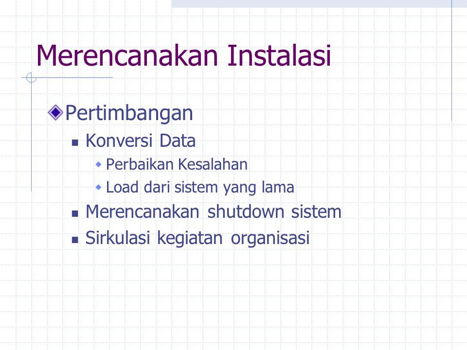 Merencanakan Instalasi Pertimbangan Konversi Data  Perbaikan Kesalahan  Load dari sistem yang lama Merencanakan shutdown sistem Sirkulasi kegiatan o